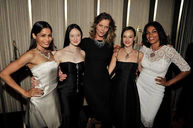 Freida Pinto Posed With Friends During The Bulgari Collection Launch Party 2013