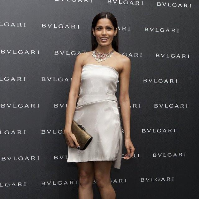 Glamorous Freida Pinto Strikes A Pose At Bulgari Collection Launch Party 2013