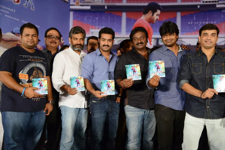 S. S. Rajamouli,Jr. NTR,V. V. Vinayak And Dil Raju Posed With Audio CD At Ramayya Vastavayya Audio Release Function