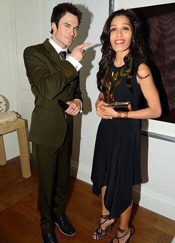 Freida Pinto Cool Look At Conde Nast 2013 Global Visionaries Event