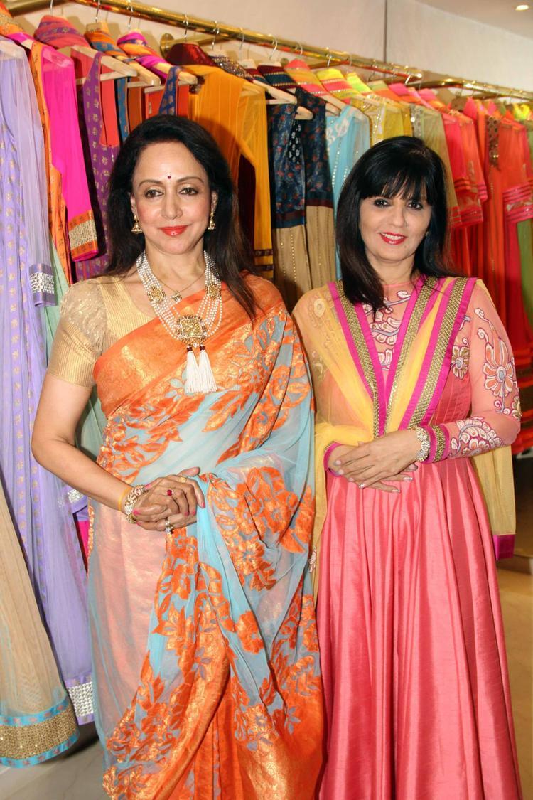 Hema Malini And Neeta Lulla Posed For Camera At Neeta Lulla's Flagship Store
