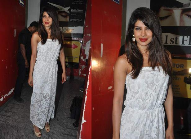 Priyanka Gorgeous Look In A White Lace Gown At Warning 3D Film Premiere Show