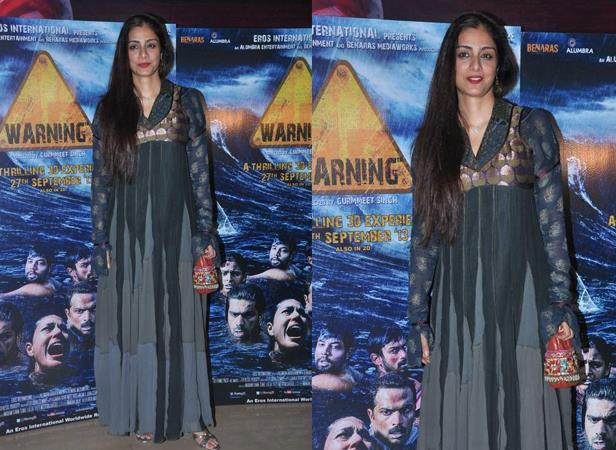 Tabu Glamour Look During The Premiere Show Of Warning 3D Movie