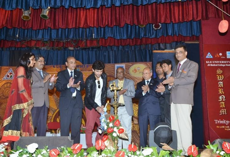 Diganth Manchale Lights The Candle During The 50th Celebration Of J. N. Medical College Belgaum