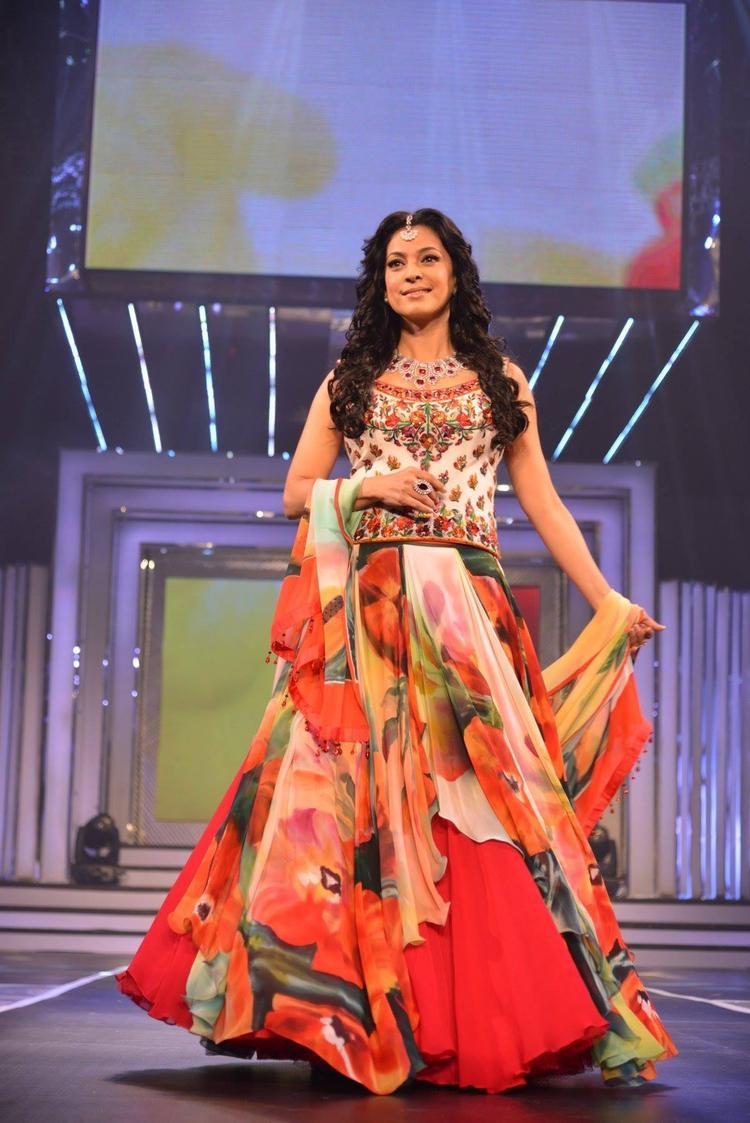 Juhi Fashionable Look In Semi Chiffon Ghagra Choli At Late Yash Chopra 81st Birth Anniversary