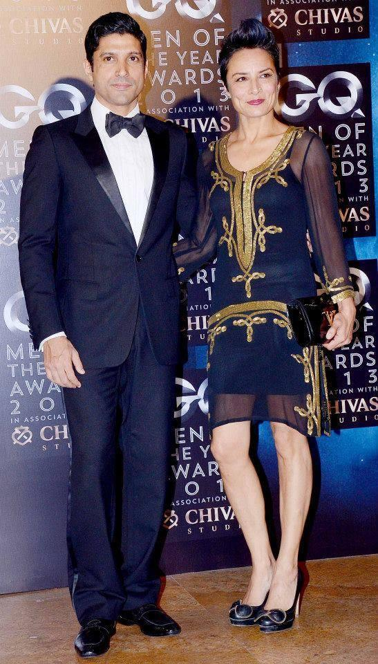 Farhan With Wife Adhuna Posed For Camera At GQ Men Of The Year Awards 2013