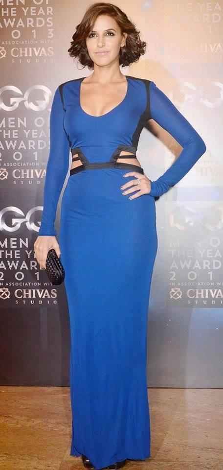 Neha Dhupia Glamour Look In Blue Gown At GQ Men Of The Year Awards 2013