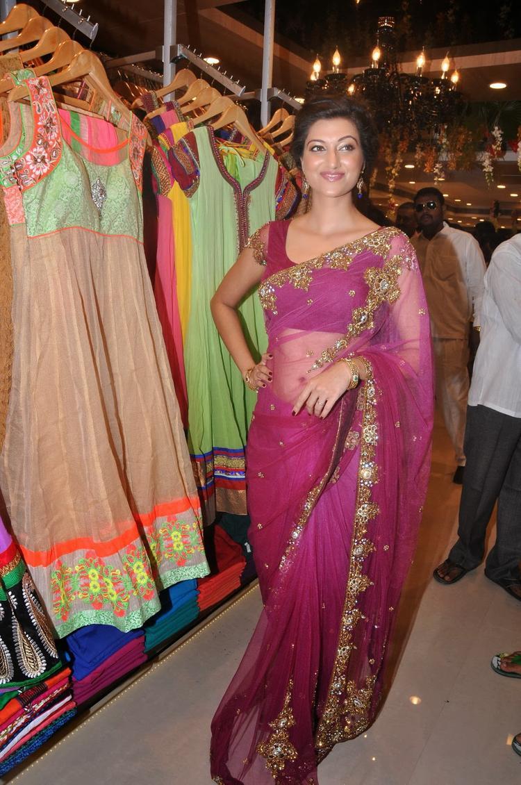 Hamsa Nandini Sexy Look In Net Saree At Kalamandir Saree Store Showroom Launch Event