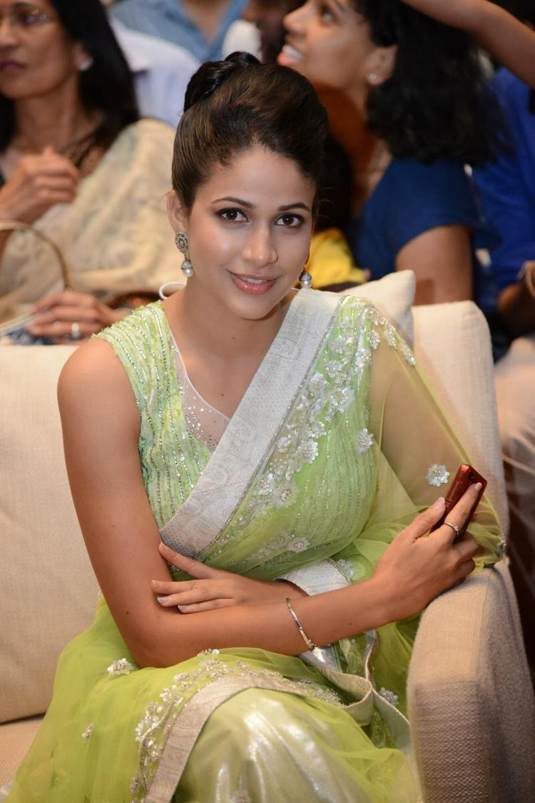 Lavanya In Light Yellow Green Transparent Saree Cute Stunnning Look During The Audio Release Function Of Doosukeltha Movie