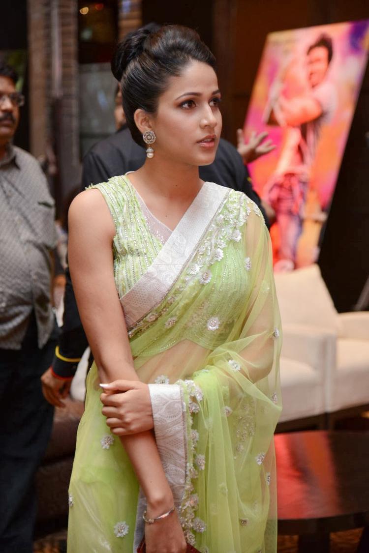 Lavanya In Light Yellow Green Transparent Saree At Doosukeltha Movie Audio Release Function