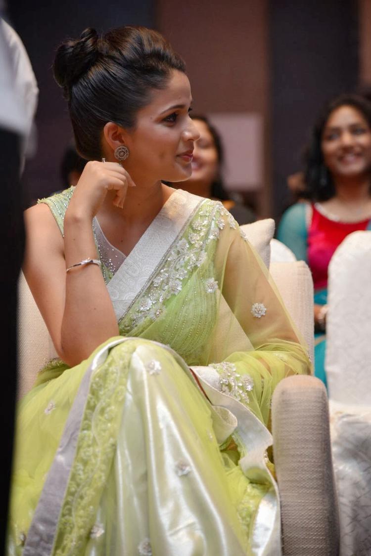 Lavanya In Light Yellow Green Transparent Saree Graced At Doosukeltha Movie Audio Release Function
