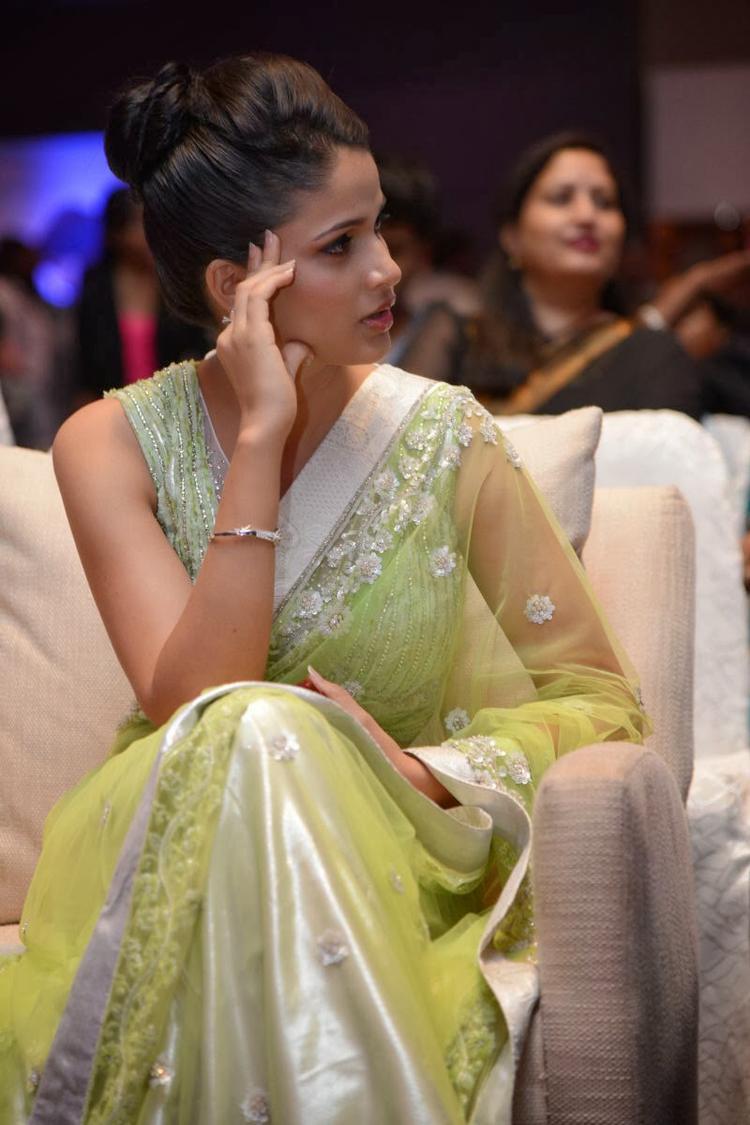Lavanya In Light Yellow Green Transparent Saree Nice Look At Doosukeltha Movie Audio Release Function