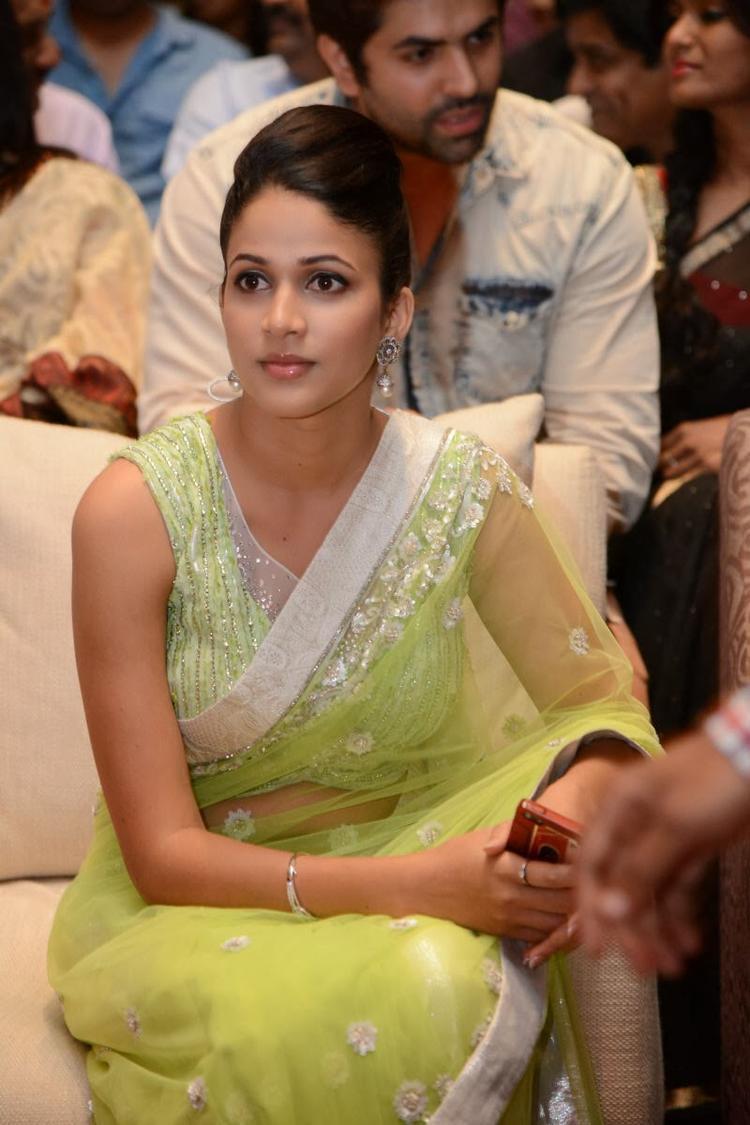 Lavanya In Light Yellow Green Transparent Saree Ravishing Look During The Audio Release Function Of Doosukeltha Movie