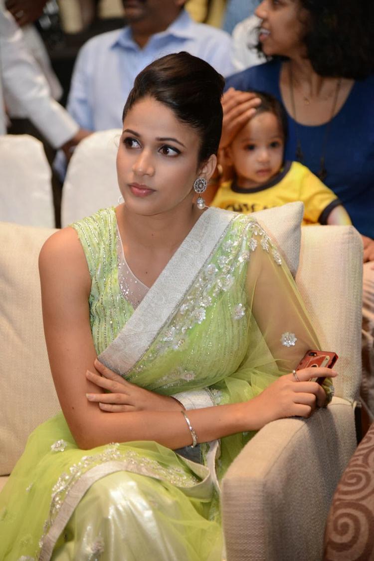 Lavanya In Light Yellow Green Transparent Saree Sizzling Look At Doosukeltha Movie Audio Release Function