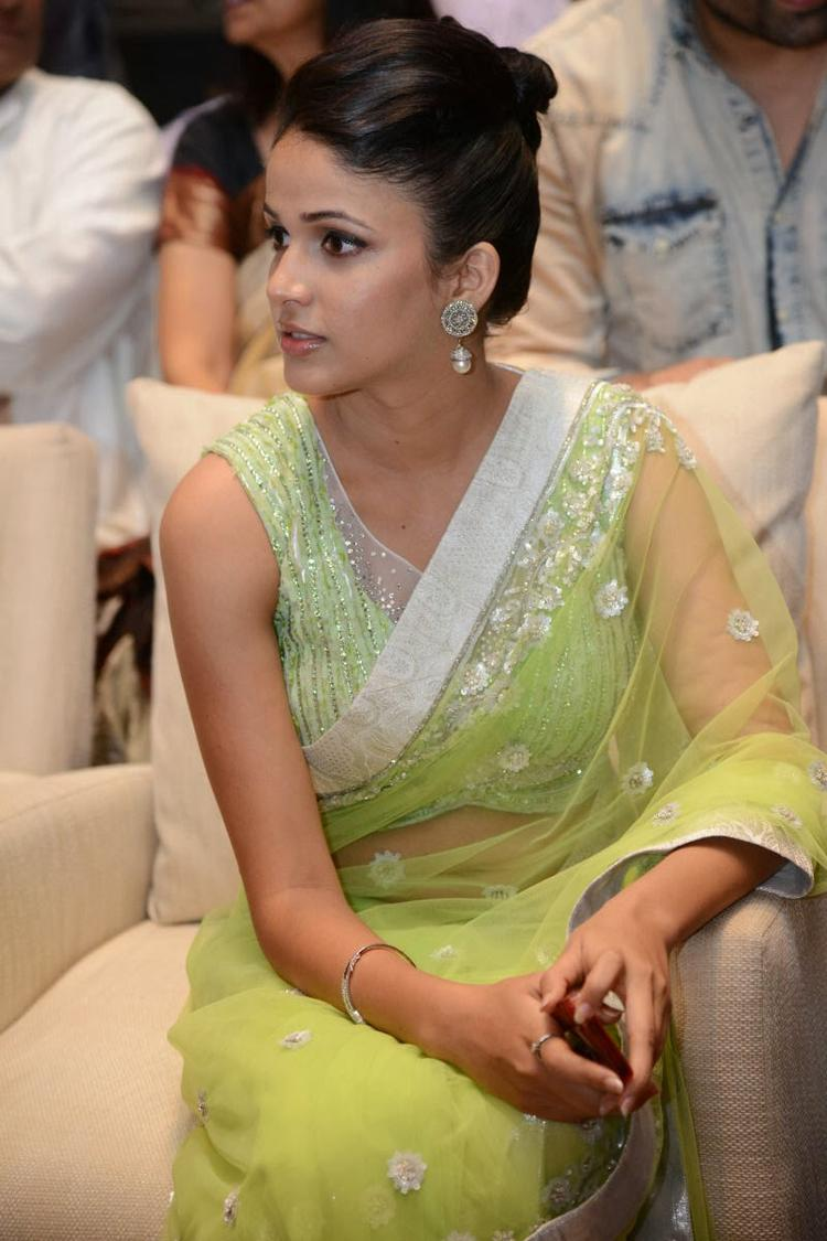 Lavanya In Light Yellow Green Transparent Saree Stylish Look At Doosukeltha Movie Audio Release Function