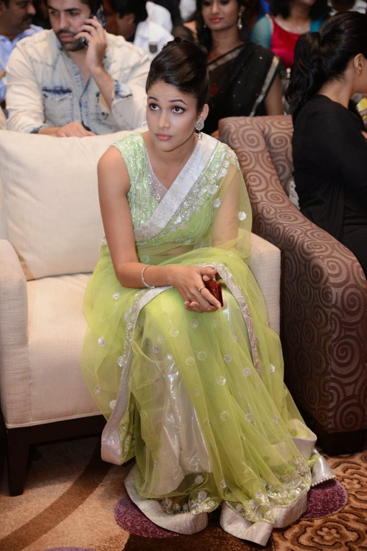 Lavanya In Light Yellow Green Transparent Saree Trendy Hot Look During The Audio Release Function Of Doosukeltha Movie