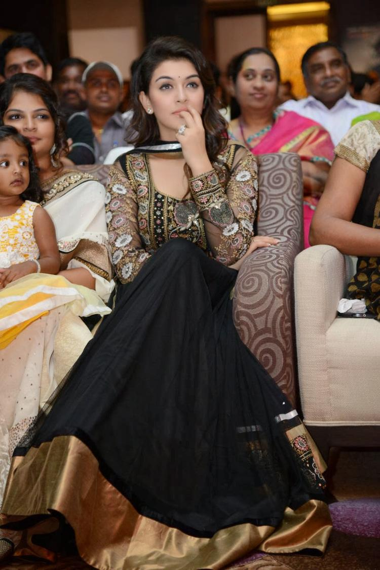 Hansika Motwani In Black Designer Dress Nice Look At Doosukeltha Movie Audio Release Function