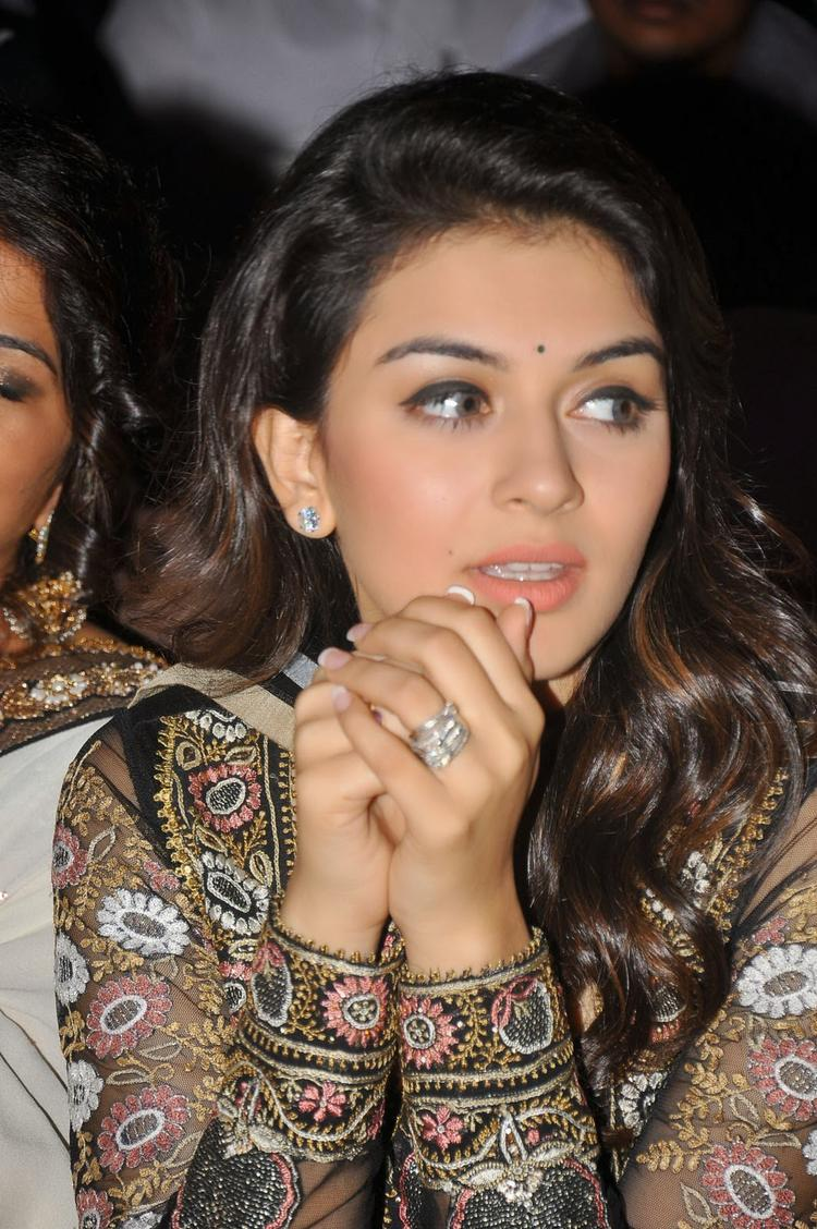 Hansika Motwani Stunning Face Look During The Audio Release Function Of Doosukeltha Movie