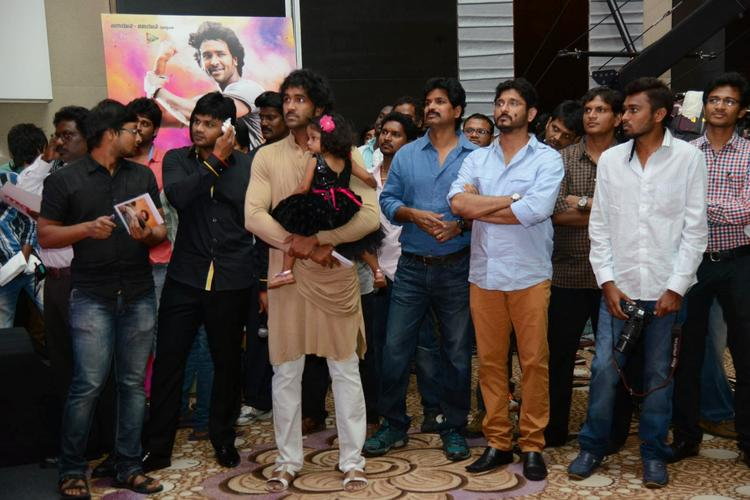Manoj Manchu,Manchu Vishnu,Veeru Potla And Others Clicked During The Audio Launch Of Doosukeltha Movie