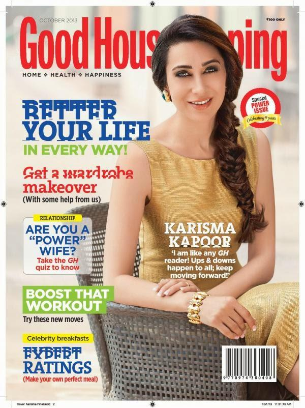 Karisma Stylish Look On The Cover Of Good Housekeeping Magazine October 2013 Issue