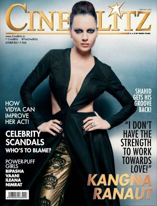 Mutant Kangna Ranaut Sexy Look On The Cover Of CineBlitz Magazine October 2013 Edition