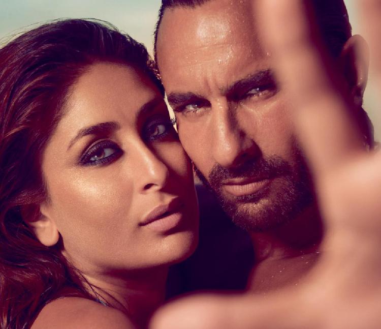Kareena With Hubby Saif Cozy Hot Look For Harper's Bazaar India October 2013 Issue