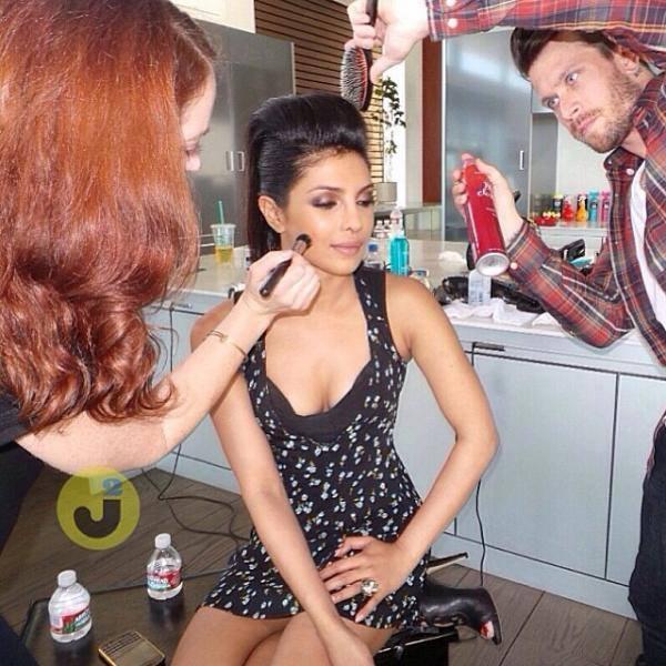 Priyanka Chopra Taking Make Up Look On The Sets Of A Photo Shoot