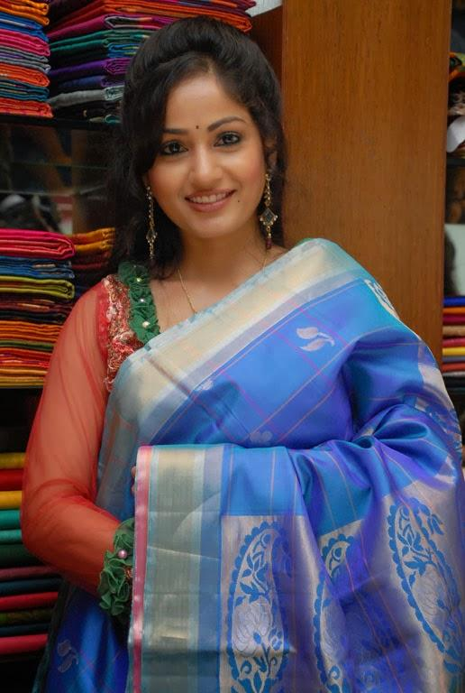 Madhavi Latha Smiling Look At Sreeja Fashions South Silk Festival 2013 Launching Event