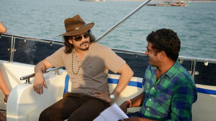 Actor Nagarjuna And Director Veerabhadram On The Sets Of Bhai Movie