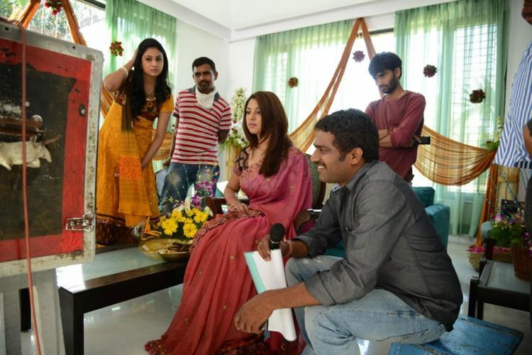 Actress Richa And Director Veerabhadram Present On The Sets Of Bhai Movie