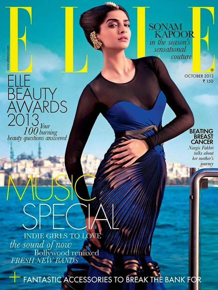 Sonam Kapoor Glamorous Look On The Cover Of ELLE India Magazine October 2013