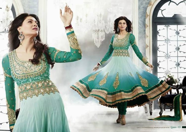Sushmita Sen Dazzling Look Photo Shoot For New Anarkali Collection 2013