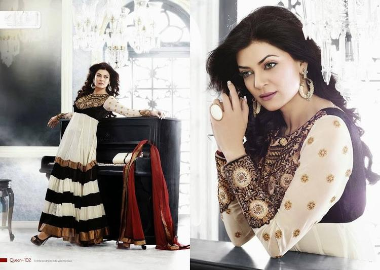 Sushmita Sen Sizzling Hot Look Photo Shoot For New Anarkali Collection 2013