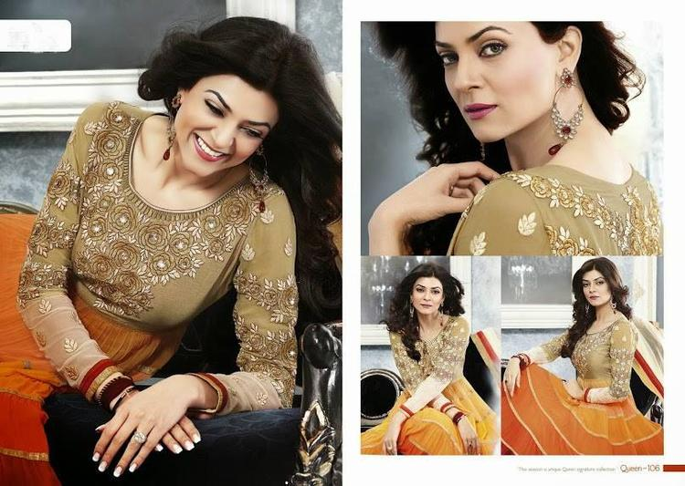 Sushmita Sen Smiling Look Photo Shoot For New Anarkali Collection 2013