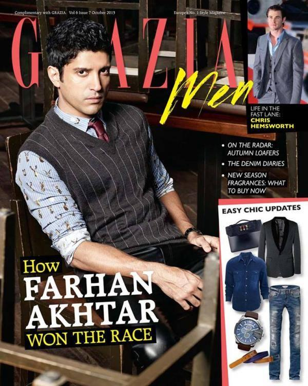 Farhan Akhtar Handsome Look On The Cover Of Grazia Men October 2013 Issue