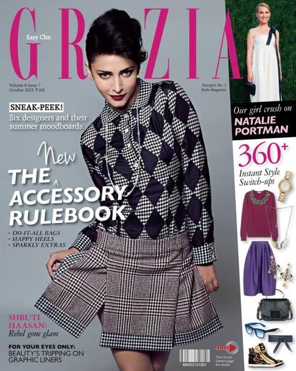 Shruti Haasan Fashionable Look Graced On The Cover Of Grazia Magazine October 2013 Issue