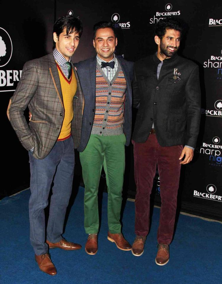 Sidharth,Abhay And Aditya Cool Posed For Camera During The Launch Of Fall-Winter 2013 Collection At Blackberry Sharp Night