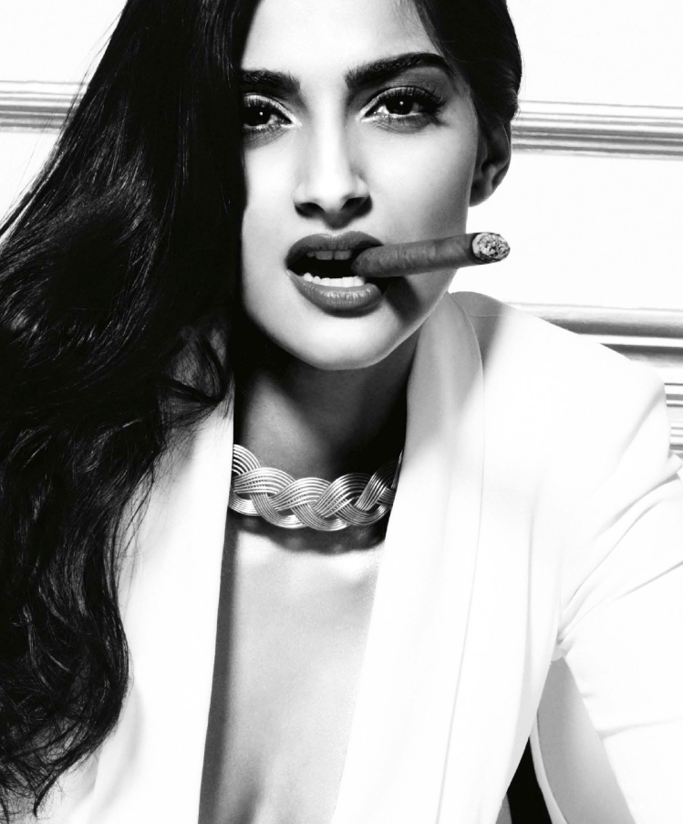 Sonam Kapoor Smoking Pose Hot Look For GQ Magazine October 2013 Issue