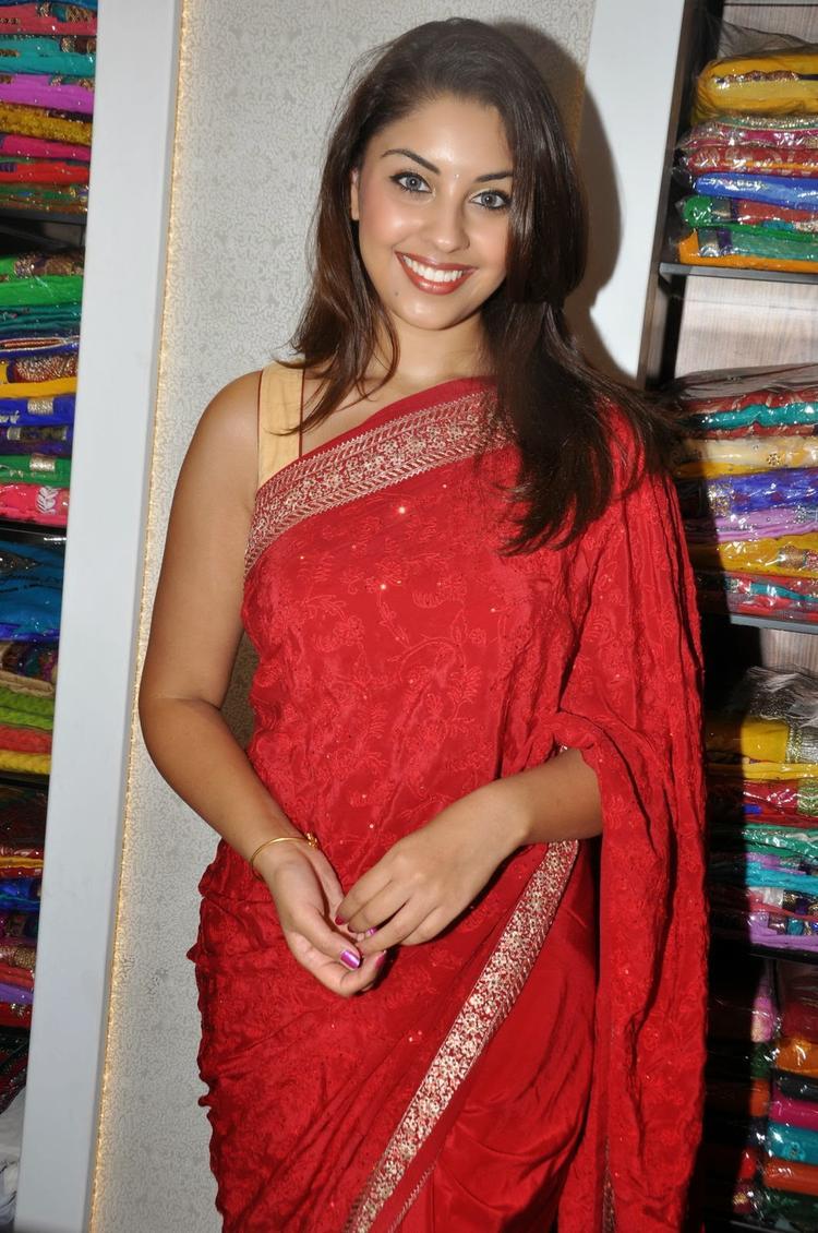 Richa Gangopadhyay Ravishing Look In Red Saree During The Launch Of Priyanka Showroom At Hyderabad
