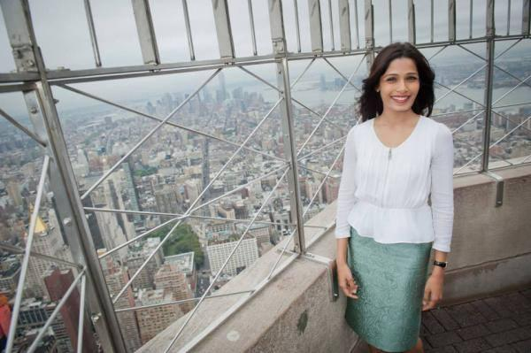 Freida Pinto Lights The Empire State Building