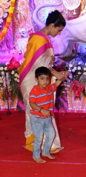 Kajol Devgan With Her Son Yug At Durga Puja Celebrations In Mumbai