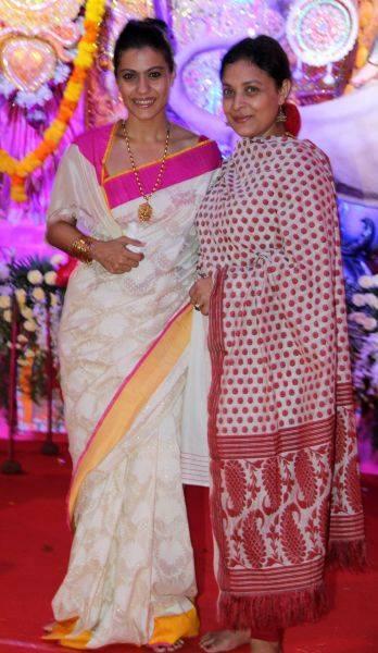 Kajol Devgan Pos For Camera During The Durga Puja Celebrations In Mumbai
