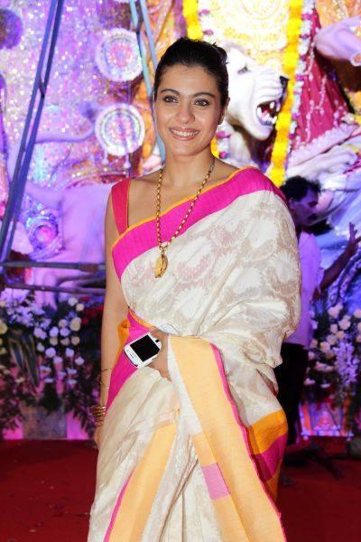 Kajol Devgan Traditional Look Beauty Still At Mumbai Durga Puja