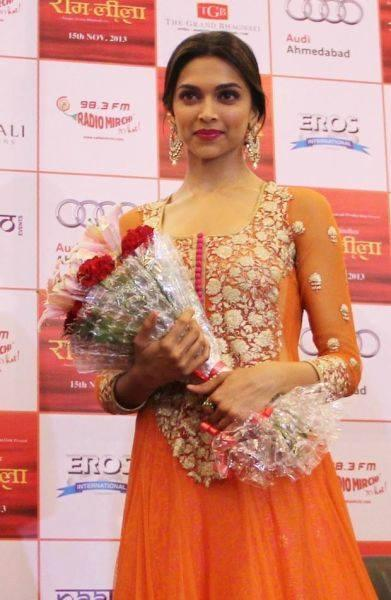 Bollywood Actress Deepika Padukone, During The Promotion Of Her Upcoming Film 'Ram Leela' In Ahmedabad