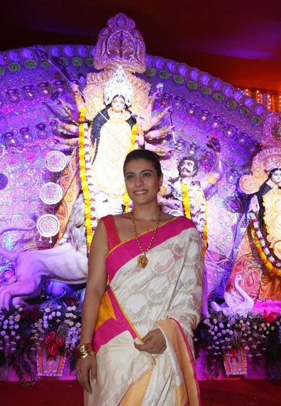 Kajol Attended Durga Puja In A SVA Saree And Amrapali Necklace