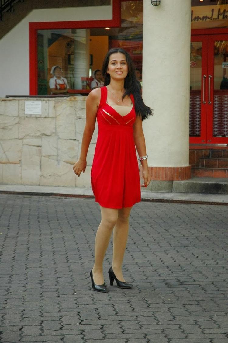 Nisha Kothari Cute Still In Red Dress