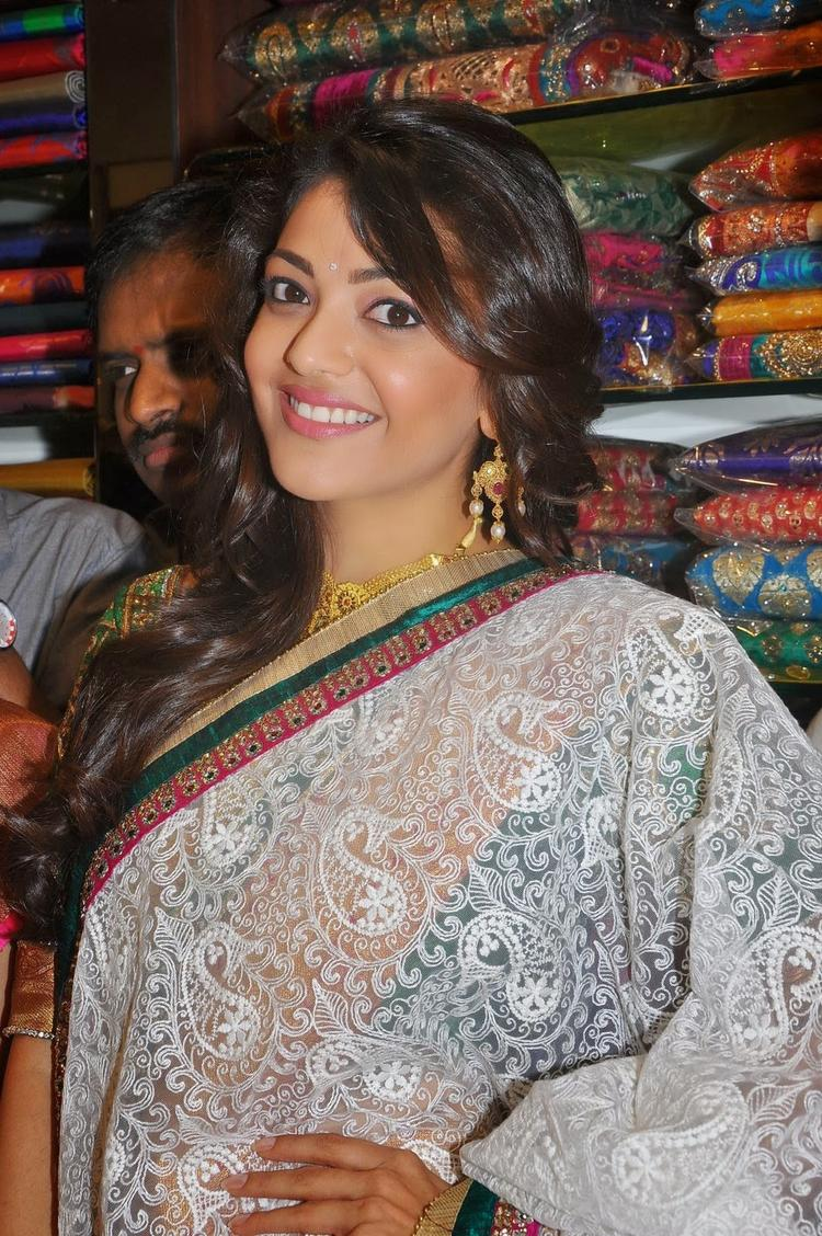 Chennai Shopping Mall Launch Event Kajal Aggarwal Saree Lounch Still