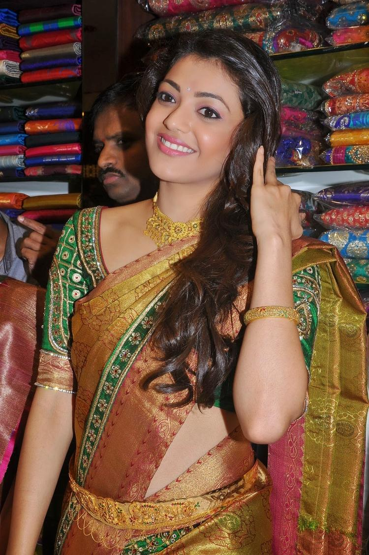 Kajal Aggarwal Sweet Smile Pose During The Chennai Shopping Mall Launch Event