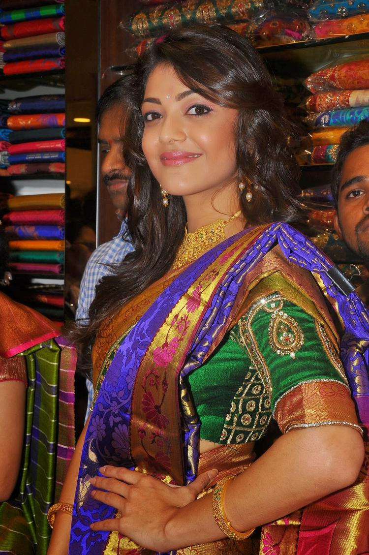 Kajal Aggarwal Traditional Look Elegant Still At Chennai Shopping Mall Launch Even