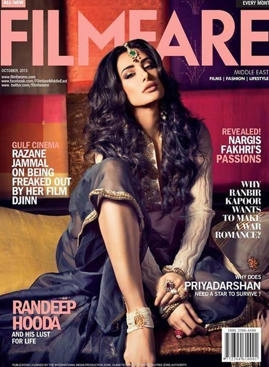 Nargis Fakhri Sexy Look Graced On The Cover Of Filmfare October 2013 Issue
